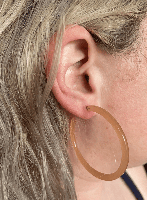 Zadie Resin Hoop Earrings in Nude