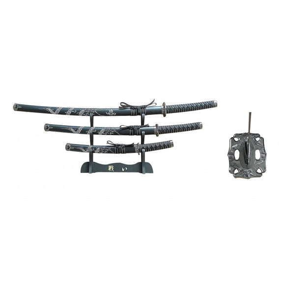 3 PC SAMURAI SWORD SET WITH DISPLAY - BLACK