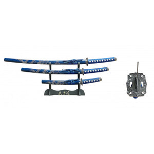 3 PC SAMURAI SWORD SET WITH DISPLAY - BLUE