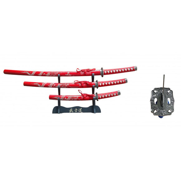 3 PC SAMURAI SWORD SET WITH DISPLAY - RED