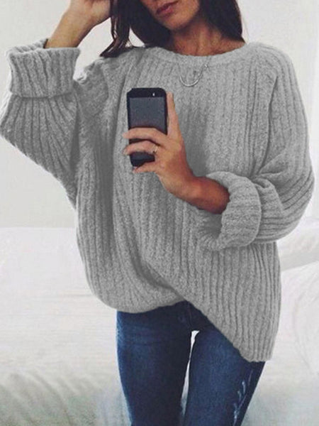 Loose-Solid-Casual-Pullover-Sweater