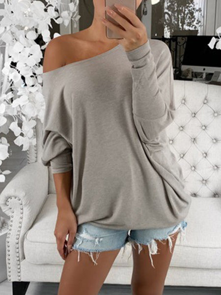 Bat-Long-sleeve-Off-shoulder-Solid-Loose-T-Shirt