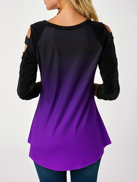 Hollow-Shoulder-Gradients-Skull-Long-sleeve-T-shirt