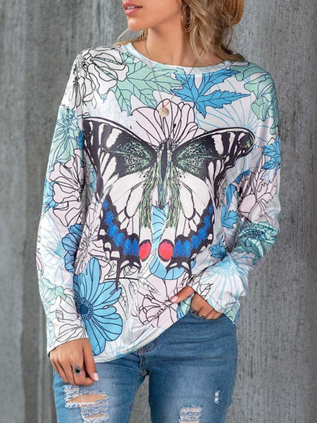 Butterfly-Leaf-Colorful-Long-Sleeve-T-shirt