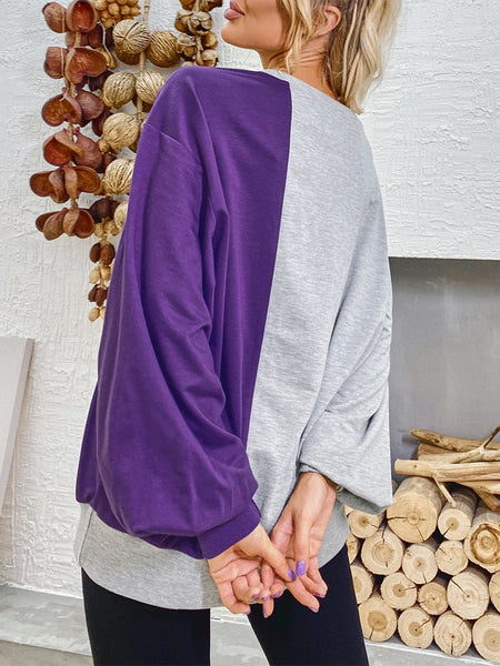 Patchwork Lantern Sleeve Loose Sweatshirt