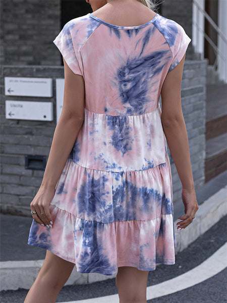 V-neck Tie-dye Printed Loose Dress