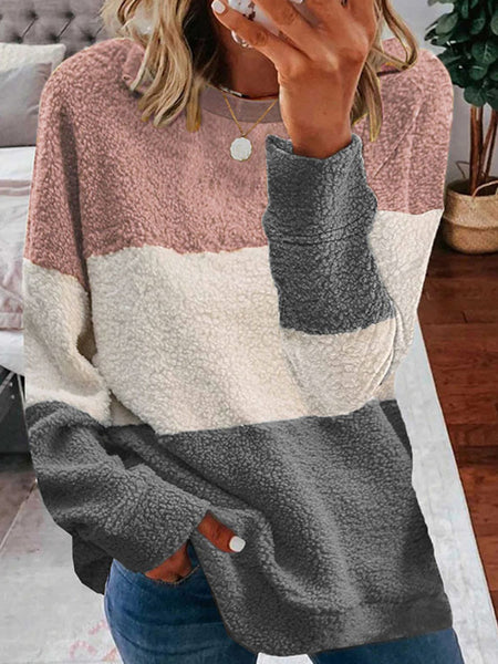 Plush Color Matching Long Sleeve T-shirt