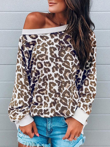 Leopard Long Sleeve Casual Sweatshirt