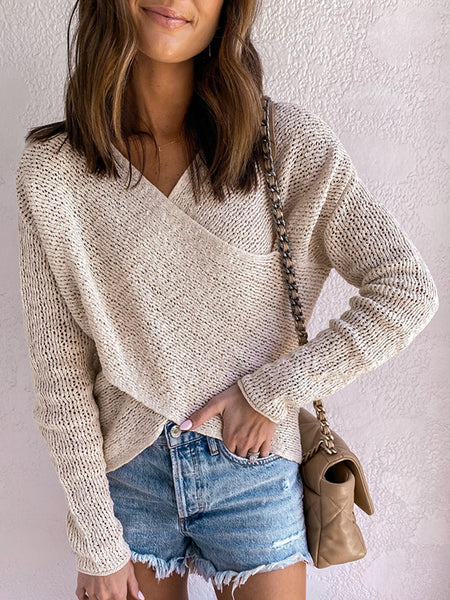 Front-Cross-V-neck-Solid-Sweater