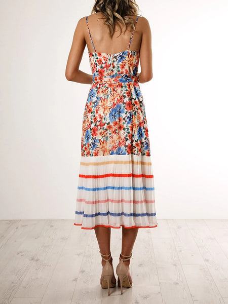 Floral-Spaghetti-Straps-Belted-Pleated-Hem-Dress