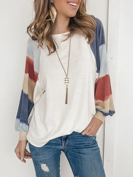 Round Neck Balloon Sleeve Printed Sweatshirt