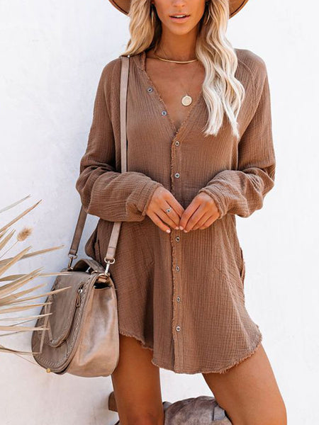 Solid-Pocket-Button-T-shirt-Dress