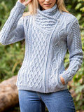 Ladies-Cable-Knit-Side-Zip-Sweater