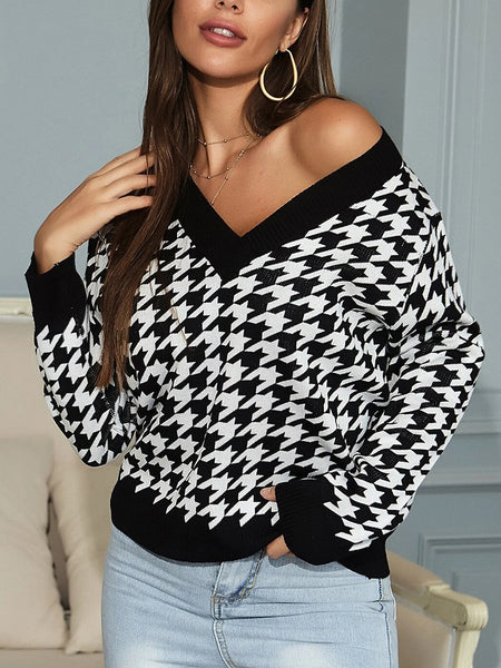 V-neck-Houndstooth-Long-Sleeve-Sweater