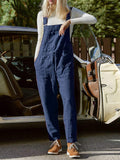 Solid-Adjustable-Straps-Drawstring-Pocket-Bib-Jumpsuit