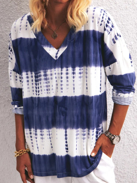 V-neck Tie-dye Striped Long Sleeve T-shirt