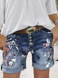 Washed Printed Button Denim Shorts