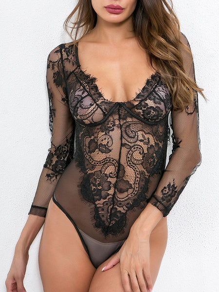 sexy-long-sleeve-sheer-eyelash-lace-bodysuit