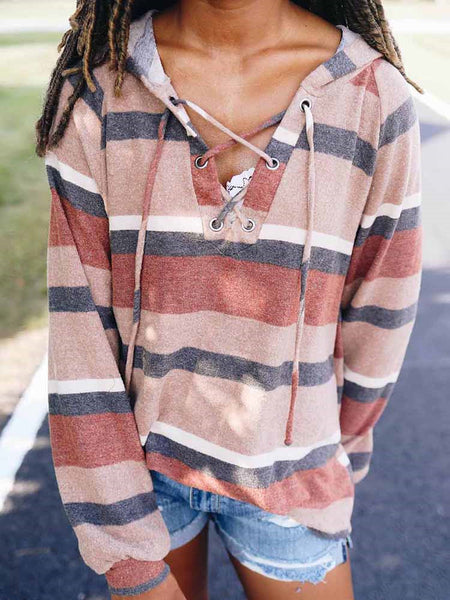 Striped V-neck Tie Casual Loose T-shirt