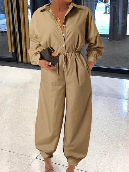 Solid Long-Sleeve Belted Shirt Jumpsuit