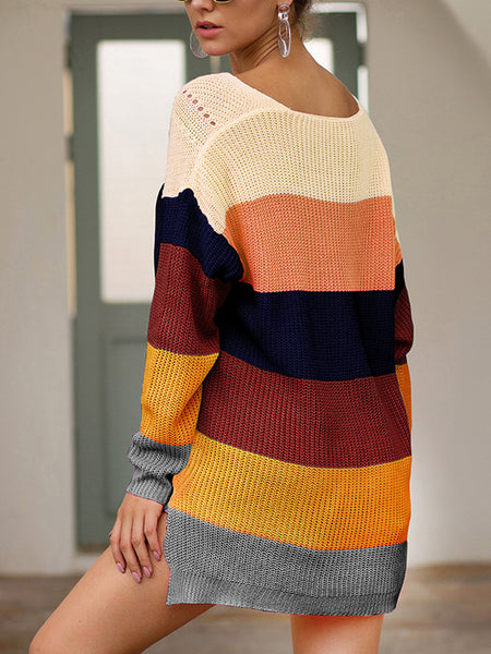 V-neck-Rainbow-Batwing--Loose-Sweater