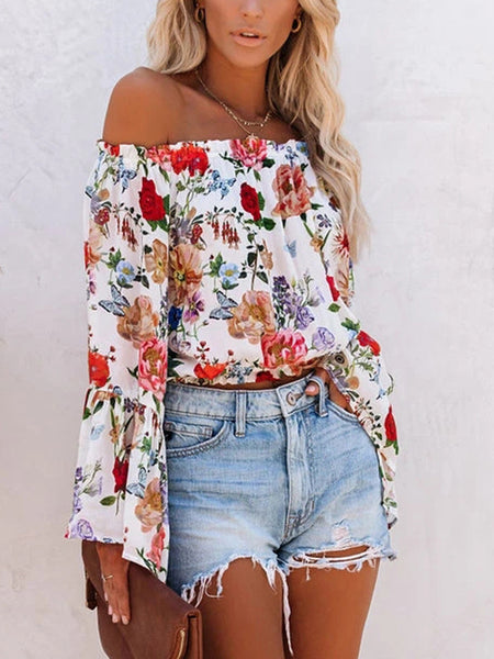 Printed Shoulder Flared Sleeve All-match Blouse