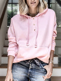 Loose-Pocket-Solid-Lace-up-Hoodie