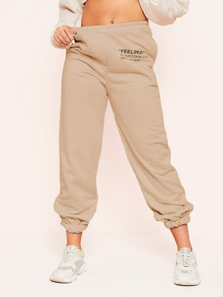 Elastic-Solid-Words-Printed-Sport-Pants