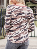V-neck-Pink-Camouflage-Long-Sleeve-T-shirt