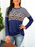 Striped-Leopard-Splicing-Twist-Long-sleeve-T-shirt