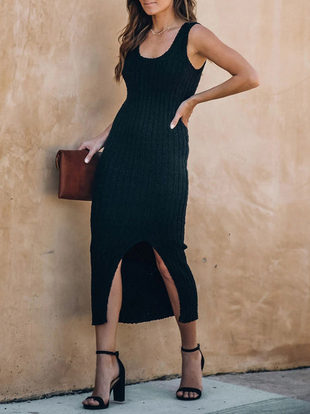 Knitted Solid Sleeveless Slim Dress