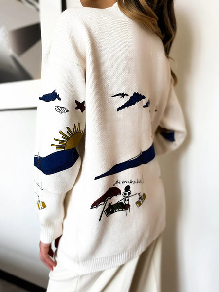 Cartoon Pattern Button Front Pocket Casual Cardigan