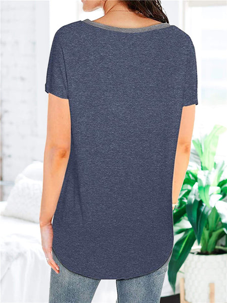 Colorblock-V-neck-Pocket-Casual-T-shirt