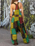 Patchwork Pocket Vintage Loose Jumpsuit