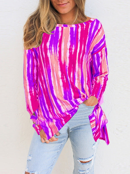 Female-Rainbow-Vertical-Striped-Long-sleeve-T-shirt