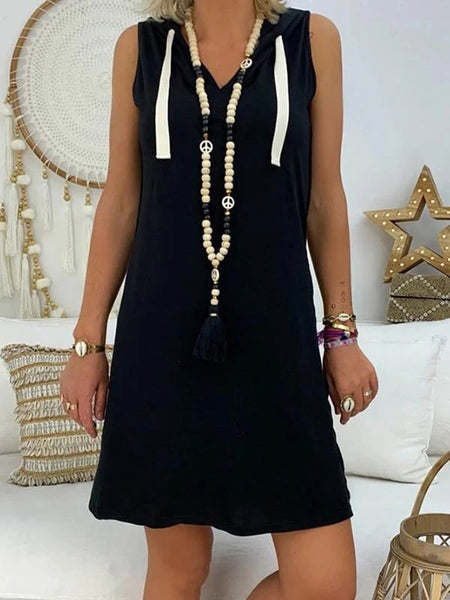 Hooded-Sleeveless-A-Line-Solid-Mini-Dress