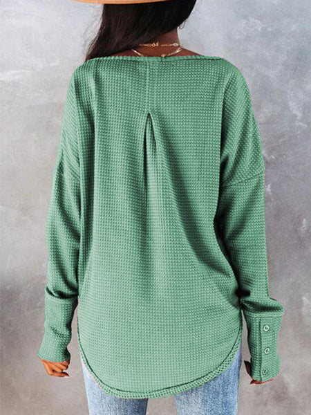Waffle-Side-Slit-Button-Long-sleeve-T-shirt