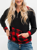 Pocket-Plaid-Splicing-Half-zip-Long-sleeve-T-shirt