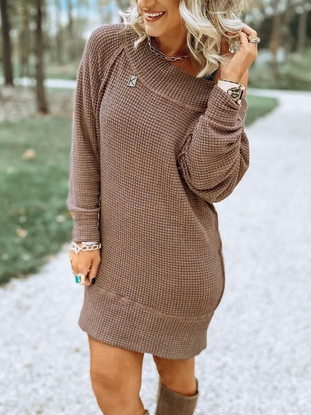 Waffle Solid One Shoulder Loose Dress