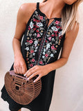 Floral-Halter-Tie-Neckline-Sleeveless-Mini-Dress