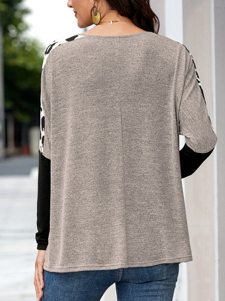 Cow-Long-Sleeve-Splicing-Pocket-T-shirt