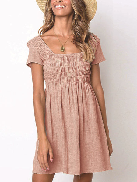 Shirred-Short-Sleeve-Solid-Mini-Dress