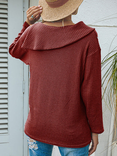 Lapel-Shoulder-Button-Solid-Long-sleeve-T-shirt