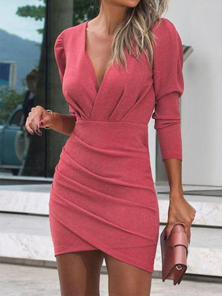 V-neck-Pleated-Long-Sleeve-Mini-Dress