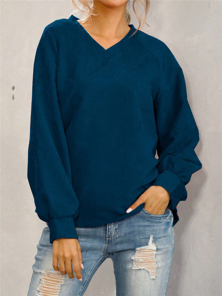 Corduroy-Solid-Casual-Long-Sleeve-T-shirt