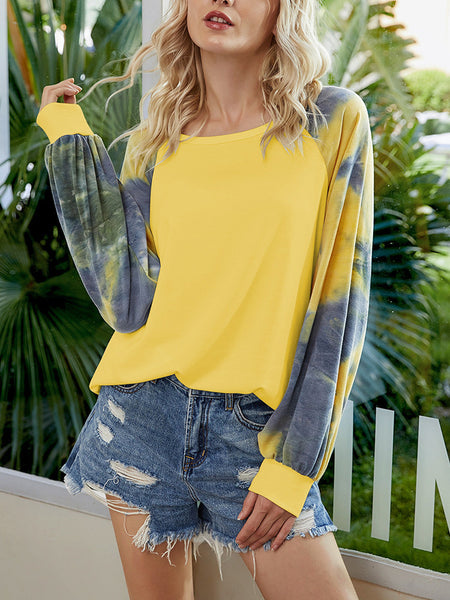 Tie-Dye-Splicing-Long-Sleeve-Blouse