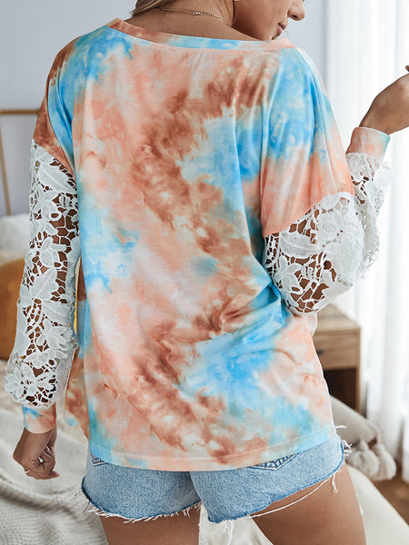 Tie-dye-Print-Lace-Stitching-Long-sleeved-Pullover