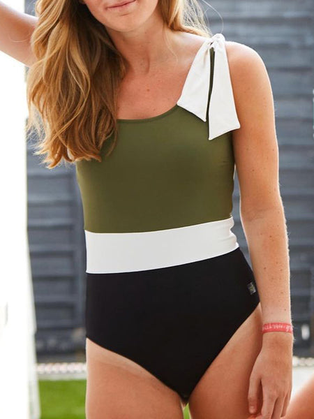 One-shoulder Panelled Swimsuit
