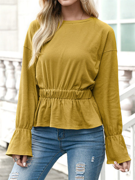 Round-Neck-Pleated-Long-sleeved-T-shirt