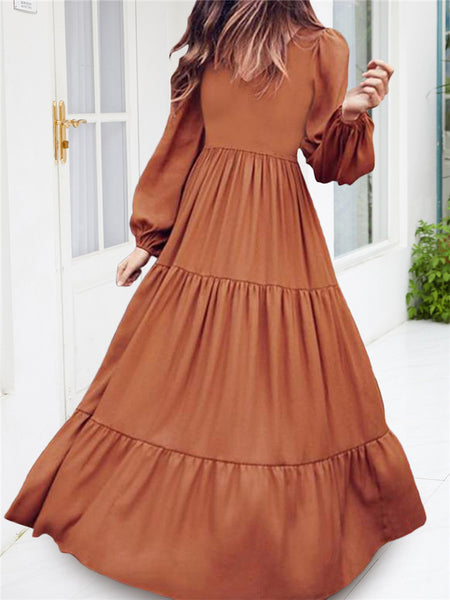 Long Sleeves V-neck Casual Dress